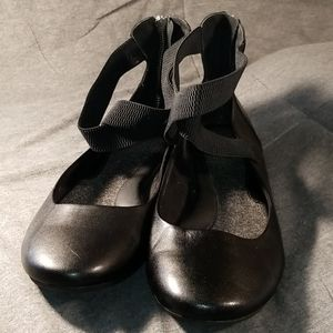 BOC Black Flats Elastic Ankle Straps VG US 10